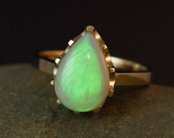 Neon Green Opal Ring- Teardrop Opal Ring - 10K Solid Gold - Luxury Collection