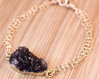 Gold Black Druzy Bracelet - Letter Charm Bracelet - Free Form Druzy