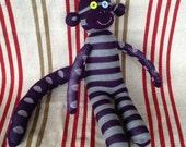 Purple Striped and Polka Dotted handmade Sock Monkey