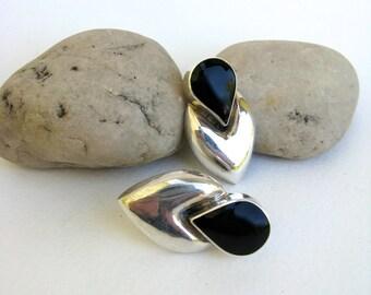 vintage ear wear   ...     sterling silver and black onyx earrings