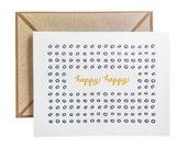 HAPPY HAPPY letterpress card - single