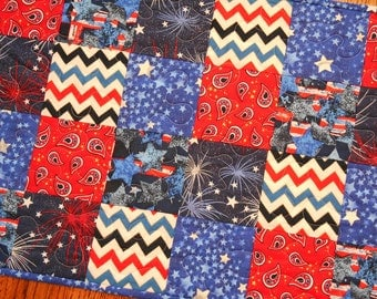 Patriotic Quilted Table Runner, July 4th Decoration, Red White and Blue, Stars Stripes and Fireworks