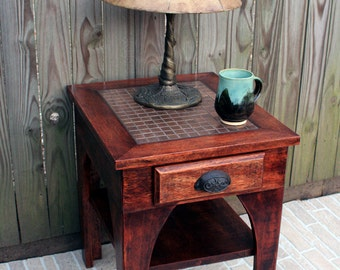 Side Table / End Table, Mosaic Copper Centerpiece, Hardwood Construct, Chocolate Brown Waxed Finish - Handmade