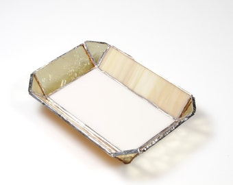 Yellow, Beige and Cream Colored Stained Glass Tray