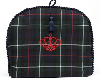 Tea Cozy/Cosy- McKenzie Clan Tartan with Red Crown embroidery / Navy Braid and Navy Tassel