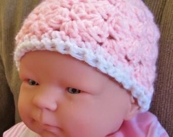 Crocheted Baby Hat, Newborn Hat,  Baby Girl Hat, Pink Baby Hat,  Beanie