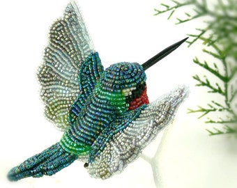Hummingbird Ornament Beaded Ruby Throated Clip-on Bird Christmas Decoration *MADE TO ORDER