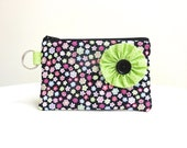 Black Floral Lime Green Flower Zippered Bag / Coin Purse / ID Case / Gadget Pouch with Split Ring - Ready to Ship