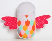 fabric baby bird rattle - in red and gray