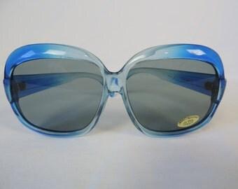 vintage oversized sunglasses 70s blue sunglasses big retro glasses boho sunglasses new old stock