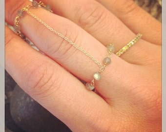 Labrodite Gold Chain Ring