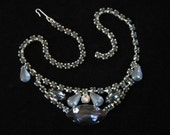 Unique Blue Rhinestone Necklace 1960's Prong Set Rhinestone