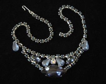 Unique Blue Rhinestone Necklace 1960's Prong Set Rhinestone