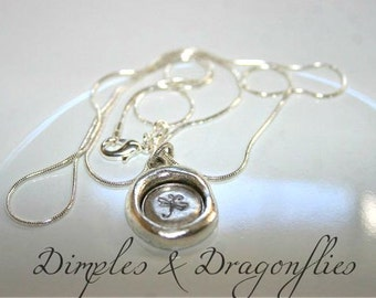 Dragonfly Wax Seal Necklace   Dainty Necklace   Hand Stamped Jewelry