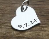 Custom Date Heart Pendant, Heart Charm Pendant, Personalized Date, Stainless Steel Heart Charm, Bracelet Charm