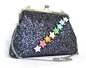 CLOSING DOWN SALE - Shoulder Bag with Rainbow Glitter Stars and Cross Body Chain - Slight Second