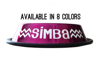 Chevron Dog Bowl - Personalized Stainless Steel Pet Bowl - 8 Colors