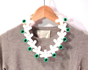Future Ruff No.13 Reclaimed and Vintage Acrylic Necklace White Green Eye Eco Sustainable Jewelry Upcycled Statement Collar