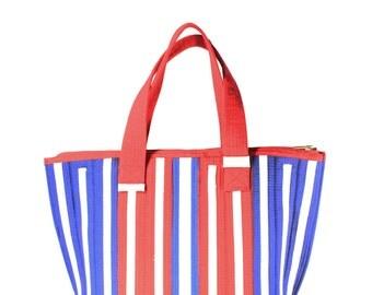 Red Blue Karate Belt Handbag Eco Friendly Sustainable Fashion Structured Tote Women Men High Quality Vegan Leather Alternative
