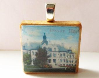 University of Washington campus -  vintage UW postcard Scrabble tile pendant - Denny Hall