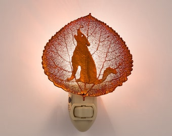 Real Aspen Leaf Dipped In Iridescent Copper With Coyote Silhouette Nightlight  - Iridescent Copper Leaves