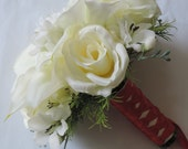 Real Touch Calla lilies an Silk Ivory Roses Wedding Bridal Bouquet