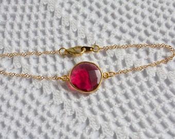 OOAK Raspberry Quartz Bezel Set Stone Bracelet on Gold Vermeil Chain
