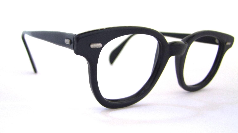 1950s unisex eyeglasses 50s 60s vintage frames black