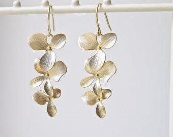 Gold Orchid Flower Wedding Earrings Matte Gold Cascade Style Bridesmaid Titanium Earrings