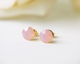 Pink Opalescent Swarovski Crystal Stud Earrings Gold Silver Rose Water Opal Dainty Everyday Earrings