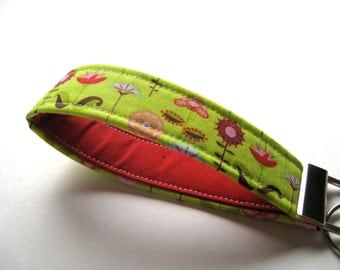Wristlet Key Fob, Key Chain - Love Birds Garden in Green - READY TO SHIP