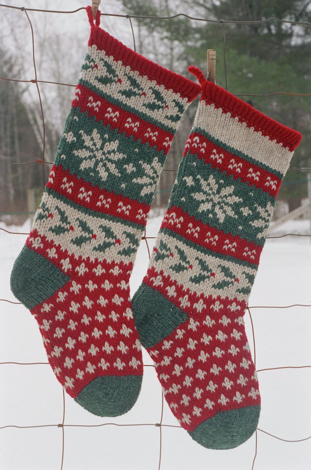 Christmas Stocking Knitting Pattern Circular Needles : HOLLY Stocking Knitting Pattern Downloadable Christmas
