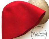 100% Wool Felt Cone Hood Hat Body for Millinery & Hat Making - Red