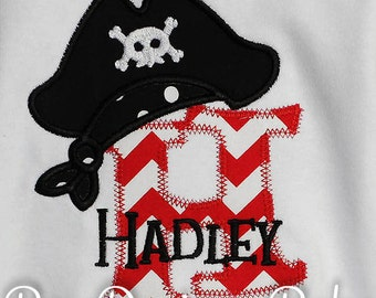 Personalized Pirate Initial Shirt, Monogrammed, Custom Fabrics, Colors, and Font, Custom Fabric Choices and Color, Boys Birthday Shirt