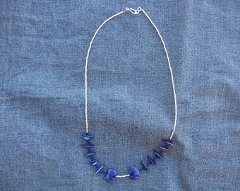 21 Inch Choker In Mother of Pearl and Lapis
