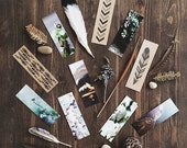Bookmarks Sets (3) total 12 - Photo Series - Kraft feather illustration. Botanical. Book lovers gift. Stocking stuffers.