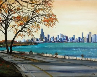 Lake Shore Drive Chicago Oil Painting - 15x12in Giclee Print