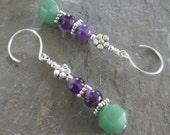 Flower Power - Amethyst & Green Aventurine earrings - Bohemian style jewelry, Chakra earrings