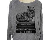 Womens CAT sweatshirt Flying Books raglan pullover American Apparel (sm med lg ) skip n whistle