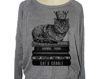 Womens CAT sweatshirt Flying Books raglan pullover American Apparel (sm med lg ) skip n whistle