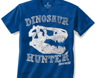 T REX DINOSAUR Hunter -- KIDS T shirt -- (7 color choices) Size 2t, 3t, 4t, youth xs, yth sm, yth med, yth lg skip n whistle