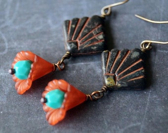 Unlisted - Aztec Earrings - Fan Earrings - Rustic Black - Terra Cotta - Indie Earrings - Bead Soup Jewelry