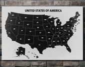 Black and White U.S.A. Map - 24x36 Canvas Print (multiple style options)