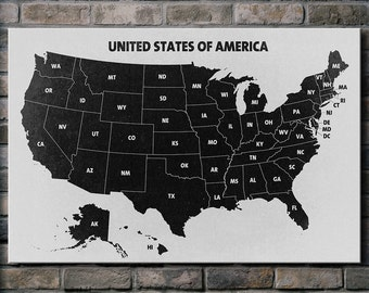 Black and White U.S.A. Map - Canvas Print (multiple style options)