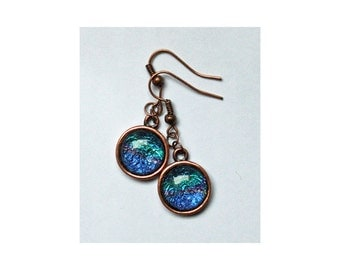 Copper Pendant Earrings with abstracts from Midsummer