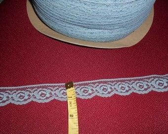 "1"" scalloped Williamsburg country blue flat lace - 20 yards ( 25 cents a yard)"