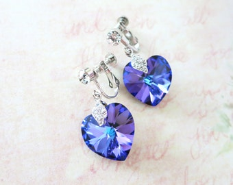 Clip On Earrings - Heliotrope Swarovski Heart Crystal Non-pierced Earrings, bridal Cubic Zirconia, blue purple weddings, bridesmaid earrings