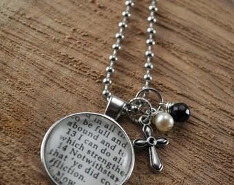 Vintage Bible Verse Necklace - Philippians 4:13 cross charm
