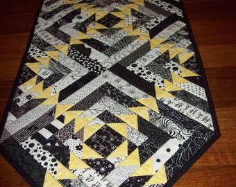 Black and white stripped table runner