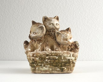old garden decor | kittens in a basket